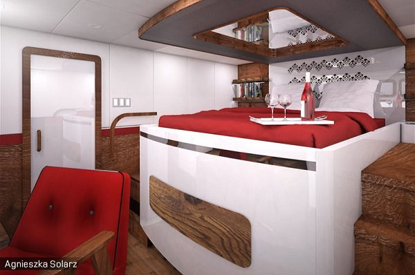 Students from the Academy of Fine Arts in Gdańsk designed a luxurious cabin for the 70 Sunreef Power yacht.